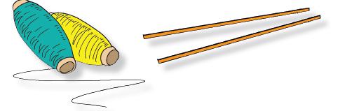 Siapkan dua pasang bambu seukuran pensil untuk masing-masing pemain.